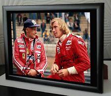 "James Hunt & Niki Lauda F1 ""RUSH"" Rare Framed Canvas Print Signed."