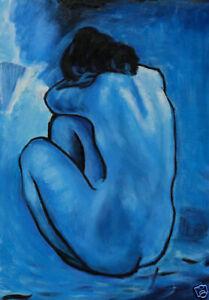 PABLO PICASSO * BLUE NUDE * LARGE A3 SIZE QUALITY CANVAS ART PRINT