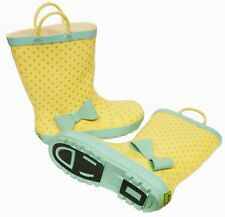 Infants Girls Yellow/Mint Polka Dot Wellington Wellies Boots Size 9/10