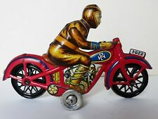 Moto rouge Paya et pilote jouet ancien tôle lithographiée Etat Impeccable I-922