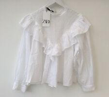 Zara XL White Cotton Victorian Blouse Oversized Loose NEW Ruffle Frill Vintage