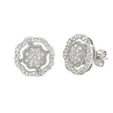 Sterling Silver Stud Earrings Micropave Fancy Octagon Design 11mm x 11mm