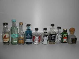 10 X Empty Miniature Spirit Bottles ( ALL GLASS )