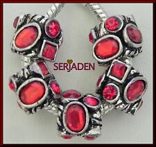 5 Red Multi Shape Stones Antique Silver Spacers European 10 * 13 & 5mm Hole R187