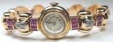 "Retro Bonheur Women's Diamond Synthetic Ruby Watch 18K Yellow Gold 7"" 30.2 Grams"