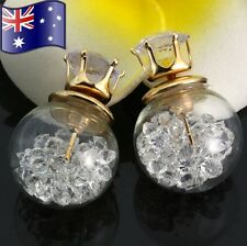 White Clear Crystal Filled Double Side Glass Orb Ball CZ Gold Stud Earrings Gift