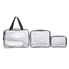 3 Pcs Cosmetic Makeup Toiletry Clear PVC Travel Wash Bag Holder Pouch Set Kit QE