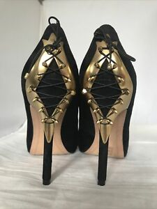 Sam Edelman Stiletto Heel Shoes Black Suede Corset Back Gold Metal Stud Size 7