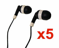 5 PACK BLACK EARBUDS EARPHONES IN-EAR STEREO SOUND ISOLATING HEADPHONES NEW