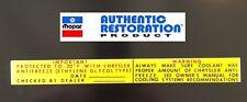 1969-1973 Chrysler Dodge Antifreeze Radiatior Core Support Decal NEW Mopar 70 71