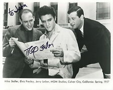 MIKE STOLLER HAND SIGNED 8x10 PHOTO+COA     RARE POSE+ELVIS PRESLEY    TO JOHN