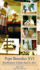 Liberia 2013 Gomma integra, non linguellato papale Retrò Papa Benedetto XVI Beatificazione Giovanni Paolo 4v M/S FRANCOBOLLI