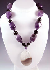 NEW LARGE AMETHYST BLACK ONYX STONE SILVER TOGGLE CLASP GEMSTONE NECKLACE