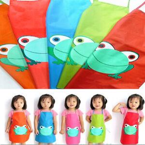 Child Childrens Waterproof Apron Cartoon Frog Printed Painting Cooking Craft Art