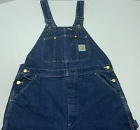 Mens Carhartt Blue Jean Bib Overalls Denim Carpenter Made in USA Size 38x30 VTG