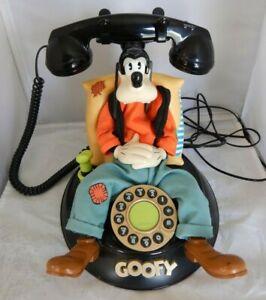 Vintage Telemania Disney Sleeping Goofy Animated Talking Corded Telephone Phone