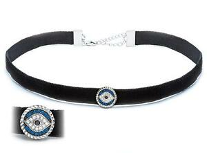 Platinum Sterling Silver Blue & White Sapphire Evil Eye Choker Necklace Gift