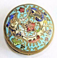 Antique French Champleve Cloisonne Enamel Dore Bronze Patch Pill Trinket Box