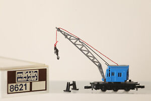 Märklin Mini Club Z Gauge 8621 Blue Mobile Crane With Stand Boxed (176760)