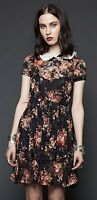 LIP SERVICE GOTHIC HIPPIE DOLL LOLITA BABY WEDNESDAY COLLAR FLORAL SHEER DRESS