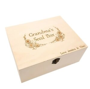 Personalised seed box & message. Gardening gift grandad, grandma, mum, dad, name