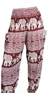 Women Thai Hippie Loose pants - Elephants prints  - Size 2 to 10