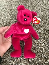 Valentina Ty Beanie Baby Red Valentina Bear With Heart Very RARE Beanie Original