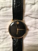 UNUSUAL VINTAGE GIRARD PERREGAUX 14K GOLD Black DIAL WORKING GENTS WATCH Leather