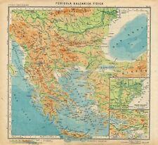 Carta geografica antica PENISOLA BALCANICA Grecia Paravia 1941 Old Antique map