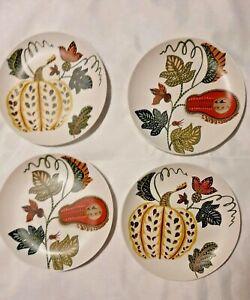 Pottery Barn New Set of Aldo Pumpkin Salad Plates Thanksgiving /Autumn Stoneware
