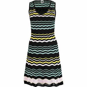 M MISSONI KNITTED sleeveless DRESS BLACK MULTI STRIPES pattern IT SIZE 44, UK 12