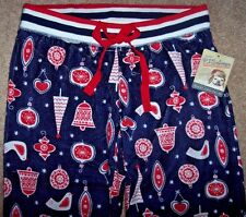 NWT PJ Salvage Navy/Red BIRDS/HEARTS CHRISTMAS Ornaments Pajama/Lounge Pants S