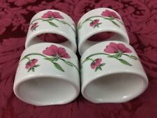 Lenox Casual Images Rose Garden FOUR (4) Napkin Rings Holders Pink Blue Flowers