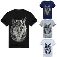 Mens Fashion 3D Wolf Print Top Tee Casual Loose Short Sleeve Summer T Shirt