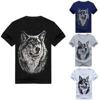 Mens Fashion 3D Wolfs Print Top Tee Casual Loose Short Sleeve Summer T Shirt