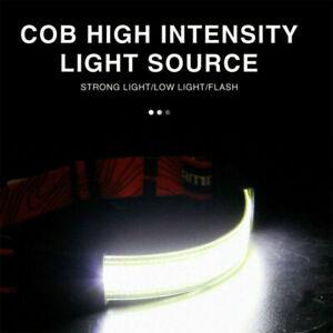 Waterproof LED Headlamp Wide Beam Head Torch Rechargeable COB Headlight Bright