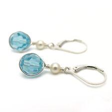HANDGEWICKELT ● 8mm Kristall und Perlen Ohrringe türkis blau Silber 925 recycelt