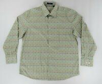 Alan Flusser Mens Dress Shirt XL Blue Multicolor Long Sleeve Button Up