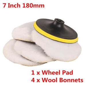 """New 7"""" 180mm Soft Wool Clean Polishing Buffing Bonnet Pad for Auto Car Polisher"""