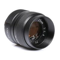Fujian 25MM f/1.4 CCTV Lens body EOSM NEX N1 FX Micro4/3 Mount Camera Black