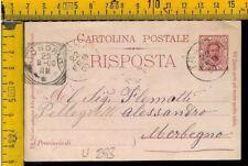 Regno cartolina intero postale risposta  Umberto Morbegno Sondrio U 263 Traona