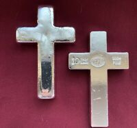 "10 oz YPS ""Cross"" 999+ fine silver bullion bar ""Yeager's Poured Silver"""