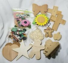 CRAFT LOT Wooden shapes painted / unfinished trees crosses beach balls holiday
