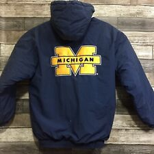 Vtg Starter Michigan Wolverines Parka Puff Jacket Men's M Navy Blue (Fits Big)