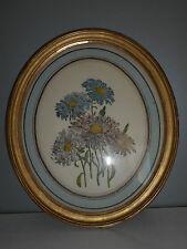 Cadre ovale ancien en bois doré.XIX°.Gravure au bouquet de fleurs.