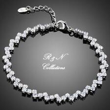 Platinum Plated Swiss Cubic Zirconia Tennis Bracelet (B613-32)