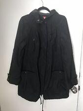 Free People Parka Black Anorak Jacket Coat Size M Hooded Coat Drawstring Trench