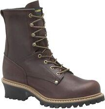 "Carolina Men's 8"" ELM Plain Soft Toe Loggers Brown Work Boots 821"