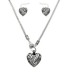 "Textured Heart Fashionable Necklace & Earrings Set - Fish Hook - 18"" Chain"