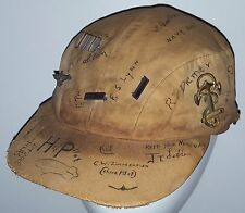 WWII US NAVY DIRIGIBLE AIRSHIP BLIMP PILOT HAT w/ CREW NAMES & PINS BADGES